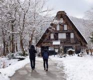 Tourists visit the old village in Shirakawa-go, Japan Stock Photo