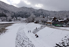 Tourists visit the old village in Shirakawa-go, Japan Stock Photos