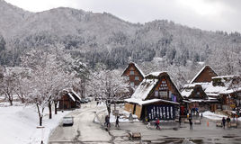 Tourists visit the old village in Shirakawa-go, Japan Stock Images