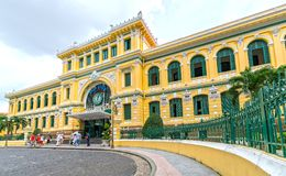 Tourists visit outside Saigon Central Post Office Architecture. Stock Photography