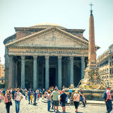 Tourists visit the Pantheon in Rome, Italy Royalty Free Stock Images