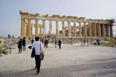 Tourists visit Parthenon in Athens,Greece. Royalty Free Stock Photo