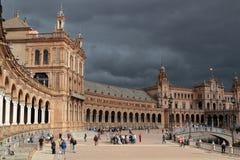 Tourists visit the Plaza de Espana, in Seville Royalty Free Stock Photo