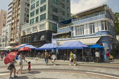 Tourists visit restaurants at lunchtime in  Stanley town in Hong Kong, China. Royalty Free Stock Photography