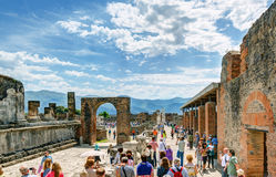 Tourists visit the ruins of Pompeii, Italy Stock Photography