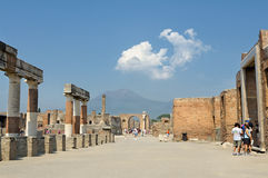 Tourists Visit the Ruins of Temple of Jupiter stock images