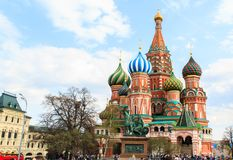 Tourists visit Saint Basil`s Cathedral in Red Square at Moscow, Stock Image