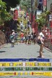 Tourists Visit Selaron Steps Rio de Janeiro Brazil Stock Photography