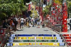 Tourists Visit Selaron Steps Rio de Janeiro Brazil Royalty Free Stock Photos
