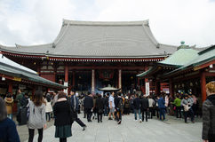 Tourists visit Senso-ji Temple. TOKYO- NOVEMBER 12: Tourists visit Senso-ji Temple on November 12, 2015 in Tokyo,Japan.The Senso-ji Buddhist Temple is the symbol Stock Image