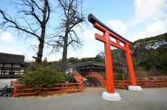 Tourists visit Shimogamo shrine orange archway in Kyoto Stock Photos