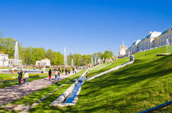 Tourists visit the sights of the lower park of Peterhof Stock Photo