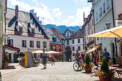 Tourists visit small town in Bavaria - Fuessen Royalty Free Stock Photo