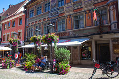 Tourists visit small town in Bavaria - Fuessen Stock Photography
