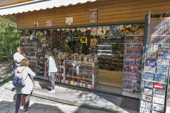 Tourists visit souvenir shop in San Marino. Royalty Free Stock Images
