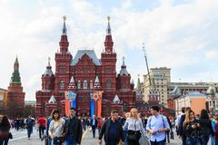 Tourists visit of the State Historical Museum on Red Square in Stock Images