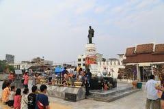 Tourists visit Suranaree statue Royalty Free Stock Image