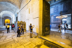 Tourists visit Synod Decisions in Haghia Sophia Museum, Istanbu. Istanbul, Turkey - September, 11 2015: View of Synod Decisions and Sarcophagus of The Empress on Royalty Free Stock Photography