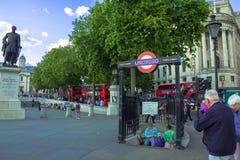 Tourists visit Trafalgar Square. London. UK Royalty Free Stock Images