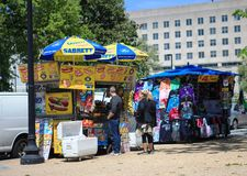 Tourists Visit Washington DC Street Vendor Stock Photos