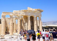 Tourists visiting Acropolis. In Athens Stock Photography