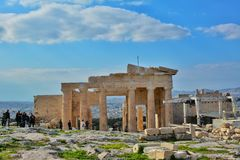 Tourists visiting Acropolis, Athens Royalty Free Stock Photo