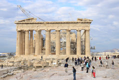 Tourists visiting Acropolis Stock Images
