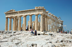 Tourists visiting the Acropolis - Parthenon Royalty Free Stock Image