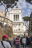 Tourists visiting the Altare della Patria (National Monument to Royalty Free Stock Images