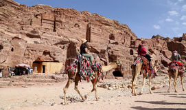 Tourists visiting the ancient ruins of Petra on camels , Jordan Stock Photography