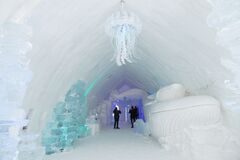 Free Tourists Visiting And Taking Photos Of A Marine Themed Great Hall In The World-renowned Seasonal Ice Hotel Stock Image - 174986711