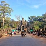 Tourists visiting Angkor Thom South Gate entrance Stock Photo