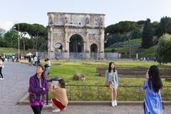 Tourists visiting Arch of Constantine. From Rome, Italy Stock Image