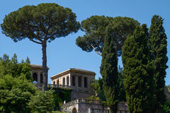 Tourists visiting the archaeological site of the Roman Forum in Rome Italy Royalty Free Stock Photo