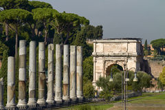 Tourists visiting the archaeological site of the Roman Forum in Rome Italy Royalty Free Stock Photography