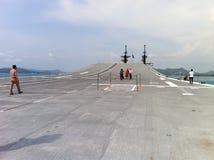 Tourists visiting battleship Royalty Free Stock Image