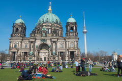Tourists visiting Berlin Cathedral Stock Photo