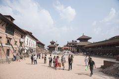 tourists visiting the bhaktapur durbar square Stock Images