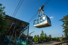 Tourists visiting Borgo Maggiore on cableway at San Marino Stock Photo