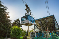 Tourists visiting Borgo Maggiore on cableway at San Marino Stock Image