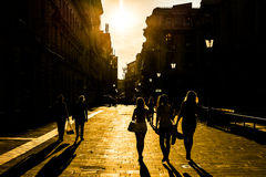 Tourists Visiting Bucharest At Sunset Royalty Free Stock Photo