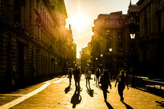 Tourists Visiting Bucharest At Sunset Stock Photo