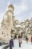 Tourists are visiting Cappadocia in Turkey during winter. Royalty Free Stock Images