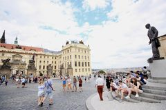 Tourists visiting castle complex in Prague Royalty Free Stock Photography