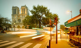 Tourists visiting the Cathedrale Notre Dame de Paris is a most famous cathedral 1163 - 1345 on the eastern half of the Cite Isla Royalty Free Stock Images