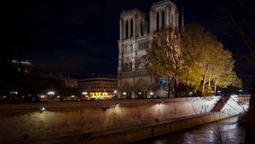Tourists visiting the Cathedrale Notre Dame de Paris is a most famous cathedral 1163 - 1345 on the eastern half of the Cite Isla. FRANCE. PARIS - OCTOBER Royalty Free Stock Photos