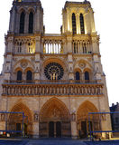Tourists visiting the Cathedrale Notre Dame de Paris is a most famous cathedral 1163 - 1345 on the eastern half of the Cite Isla. FRANCE. PARIS - OCTOBER Royalty Free Stock Image