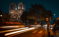 Tourists visiting the Cathedrale Notre Dame de Paris is a most famous cathedral 1163 - 1345 on the eastern half of the Cite Isla. FRANCE. PARIS - OCTOBER Stock Photography