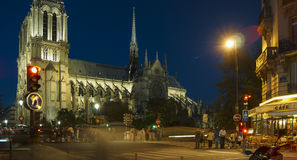 Tourists visiting the Cathedrale Notre Dame de Paris is a most famous cathedral 1163 - 1345 on the eastern half of the Cite Isla. FRANCE. PARIS - OCTOBER Royalty Free Stock Photo