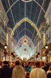 Tourists visiting Christmas lights, Malaga, Spain.